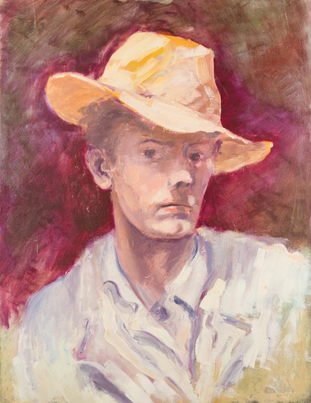 Peter Dotrel Selbstporträt mit gelbem Hut