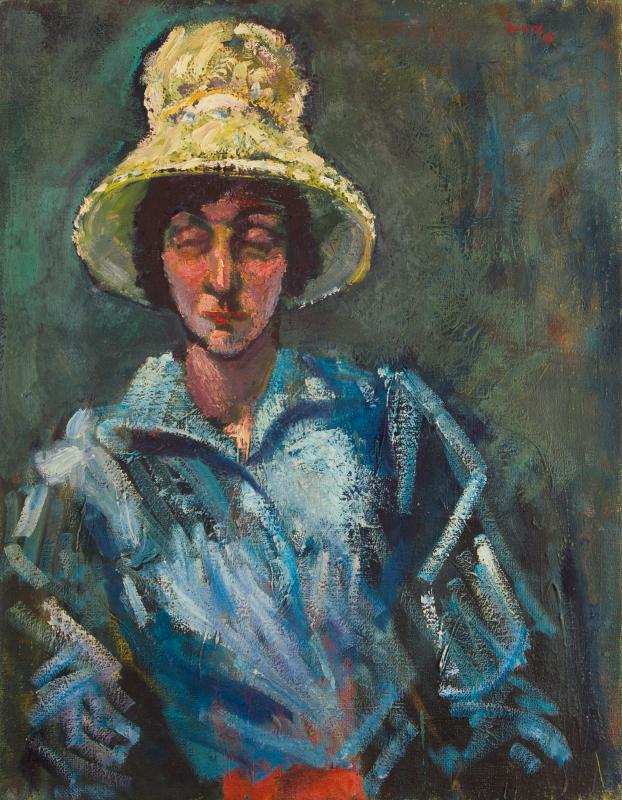 Peter Dotrel Frau mit gelbem Hut