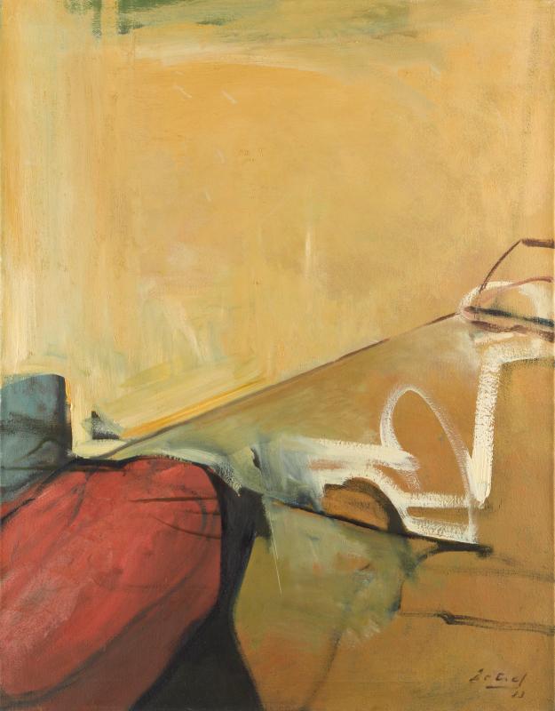 Peter Dotrel Interieur mit rotem Polster