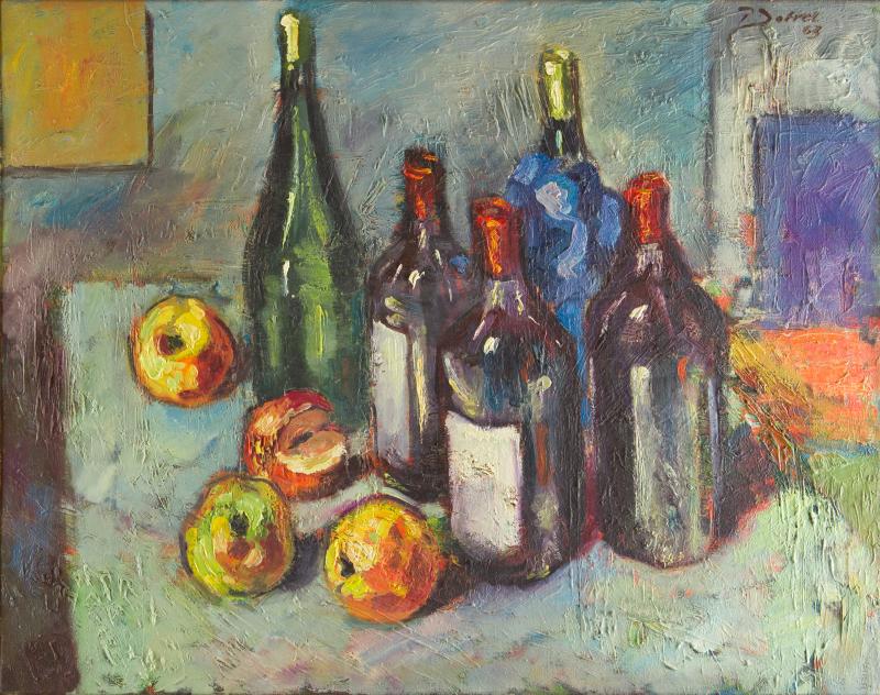 Peter Dotrel Stillleben mit Äpfeln und Weinflaschen