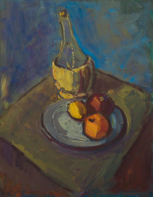 Peter Dotrel Stillleben mit Bastflasche und Obst