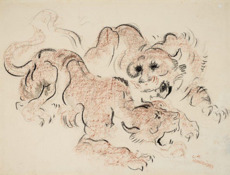 Ludwig Heinrich Jungnickel Brüllende Löwinnen