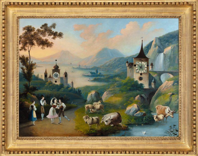 Bilderuhr C. L. Hoffmeister, Umkreis Feierabend an einem Tessiner See mit Indikationen, Echoschlag und Angelusläuten