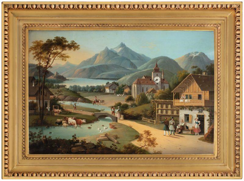 Beeindruckende Bilderuhr Alpine Landschaft C. L. Hoffmeister, zugeschr.
