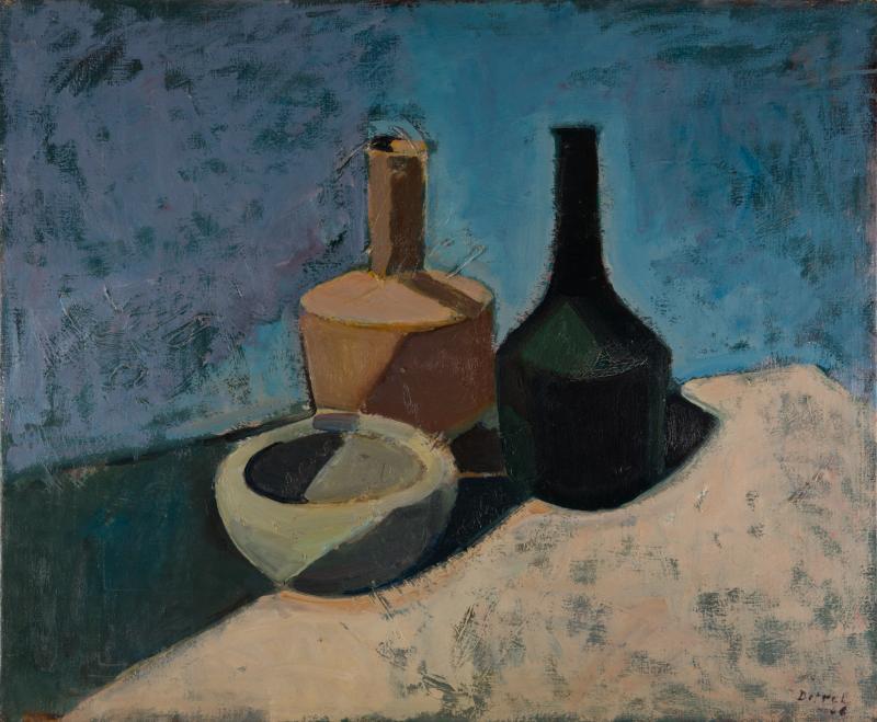 Peter Dotrel Stillleben mit Schale und Flaschen