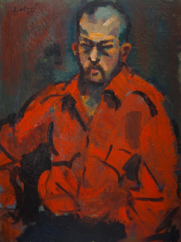 Peter Dotrel Porträt eines Asiaten mit rotem Hemd